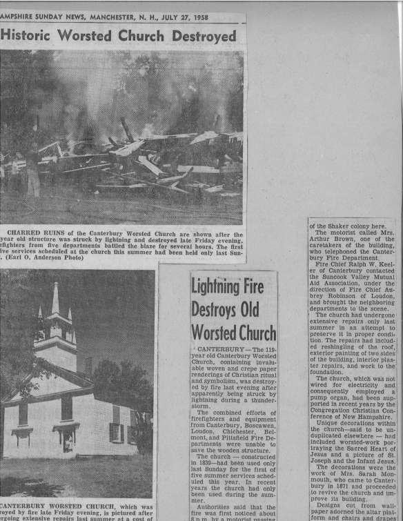 worsted church newspaper clip NH news