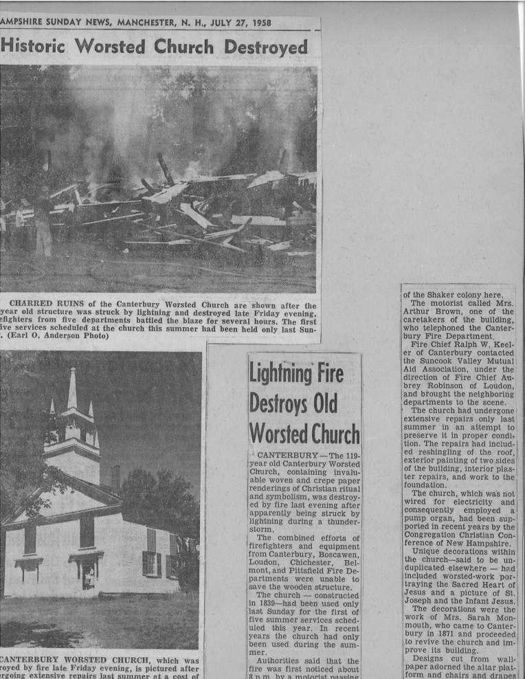 worsted church newspaper clip NH news